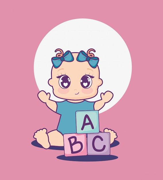 Baby shower card with girl and alphabet blocks Premium Vector