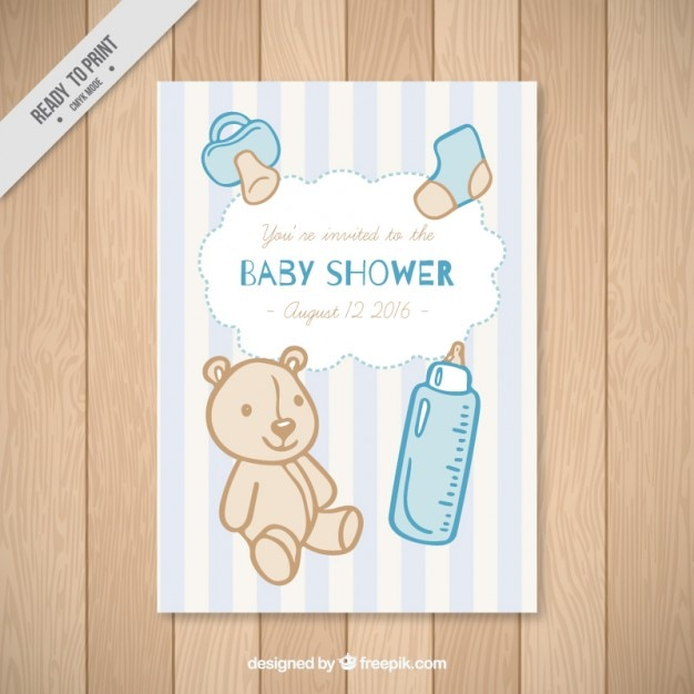 Baby Shower Card With Hand Drawn Baby Elements Vector