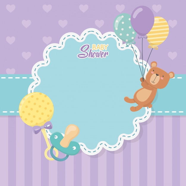 Baby shower card with little bear teddy and balloons helium Free Vector