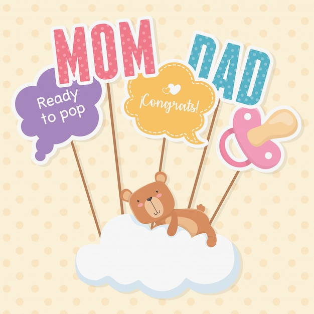 Baby shower card with little bear teddy in cloud Free Vector