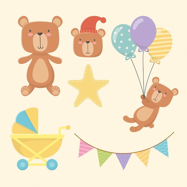 Baby shower card with little bears characters Free Vector