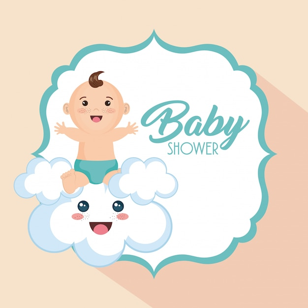 Baby shower card with little boy Free Vector