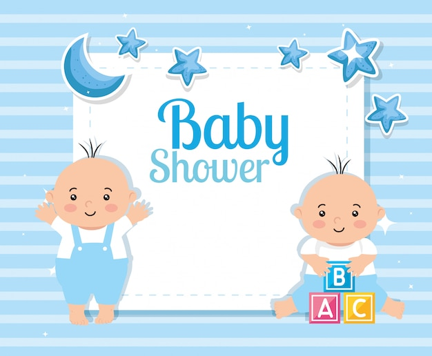 Baby shower card with little boys and decoration Premium Vector