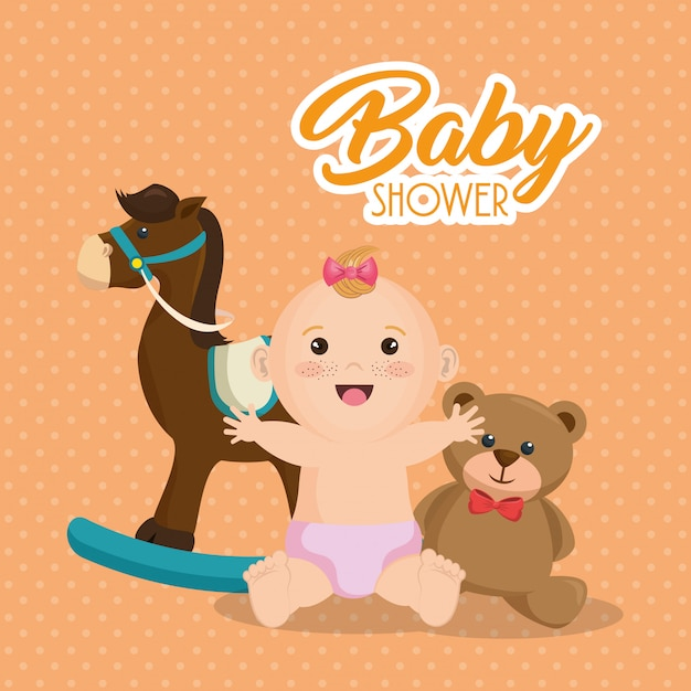 Baby shower card with little girl Free Vector