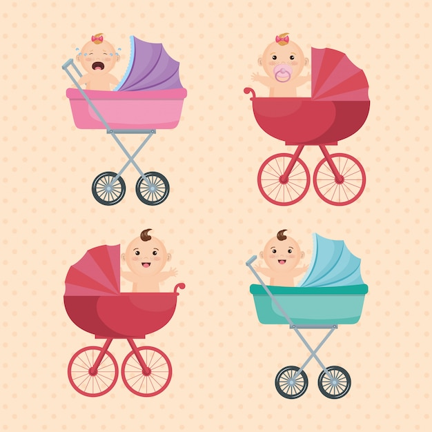 Baby shower card with little kids Free Vector