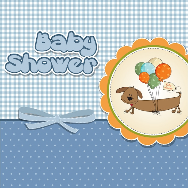 Baby shower card with long dog and balloons Premium Vector