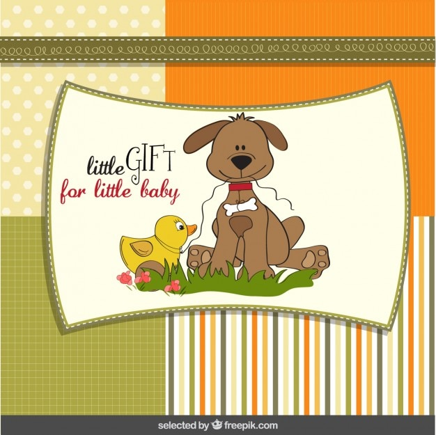 Baby shower card with lovely dog and duck Free Vector