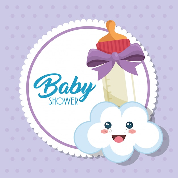 Baby shower card with milk bottle Free Vector