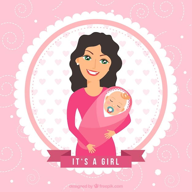 Baby shower card with mother and baby Free Vector
