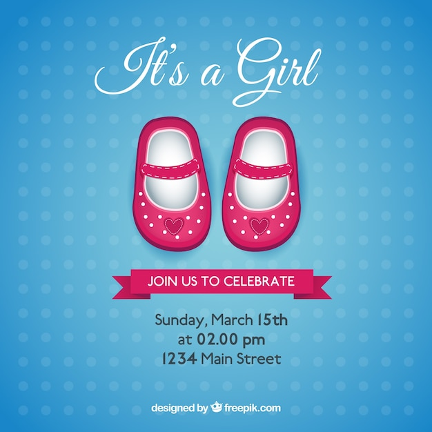 Baby shower card with pink shoes