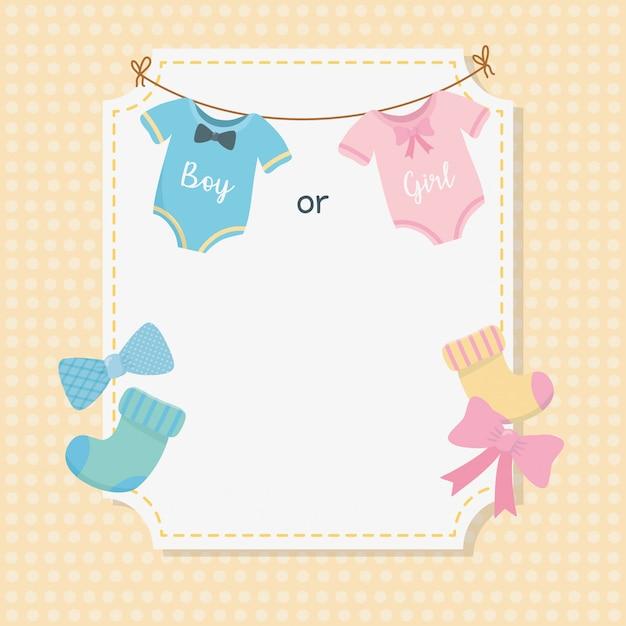 Baby shower card with set accessories Free Vector