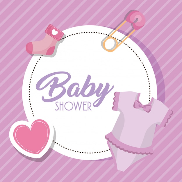 Baby shower card with set icons Free Vector
