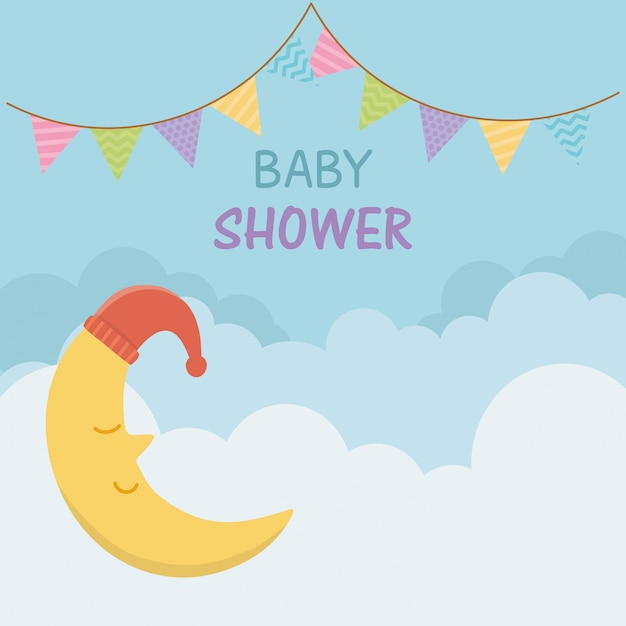Baby shower card with sleeping moon Free Vector