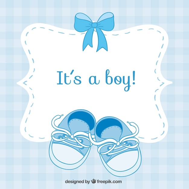 Baby shower card with small shoes Free Vector