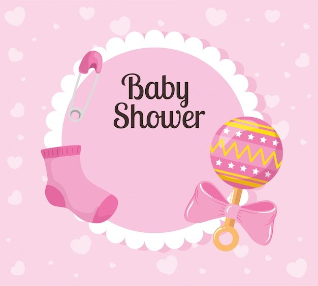 Baby shower card with sock and decoration Premium Vector