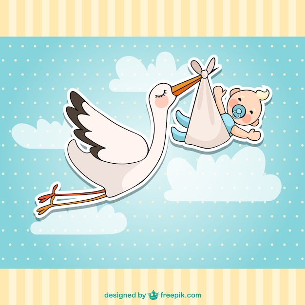 Baby shower card with a stork and a baby Free Vector