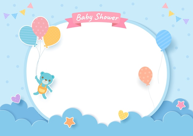 Baby shower card with teddy bear and balloons on blue background Premium Vector