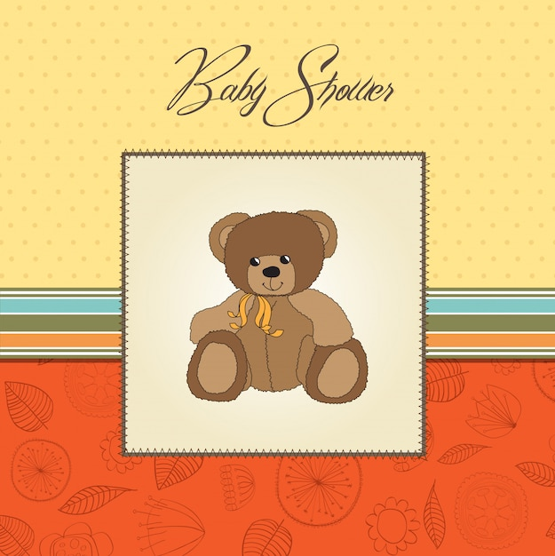 Baby shower card with teddy Premium Vector
