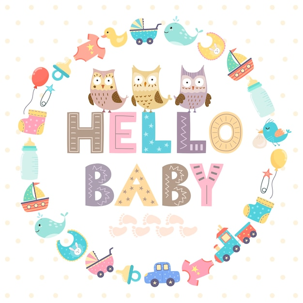 Baby shower card with a text Premium Vector