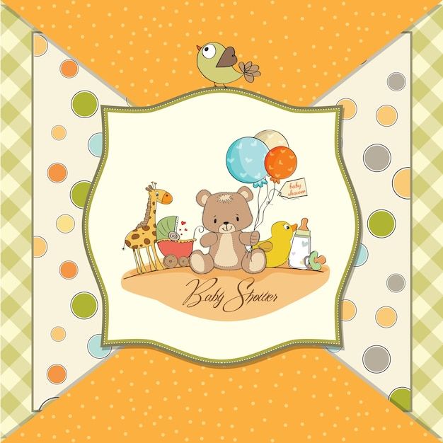 Baby shower card with toys Premium Vector
