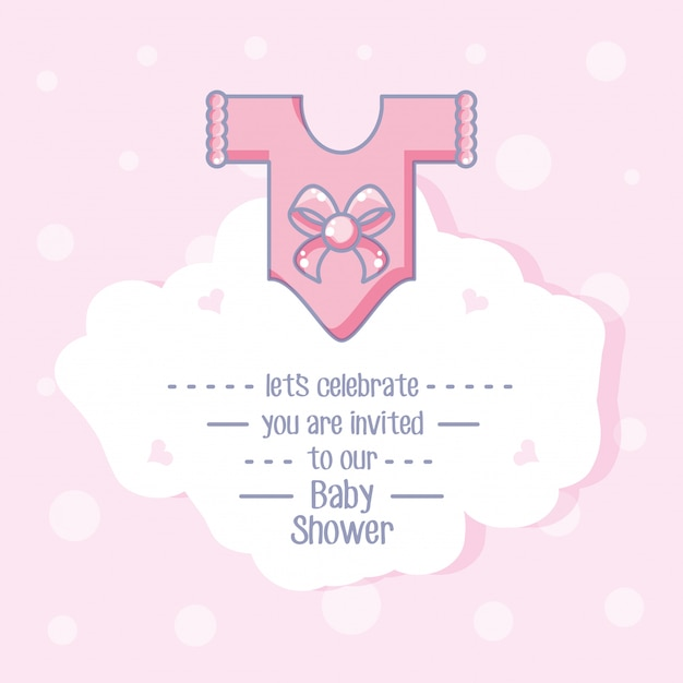 Baby shower card with with clothes for girl Premium Vector