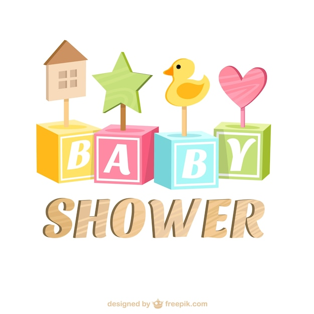Baby Shower Card Vector ~ Baby shower card with wooden toys vector free download