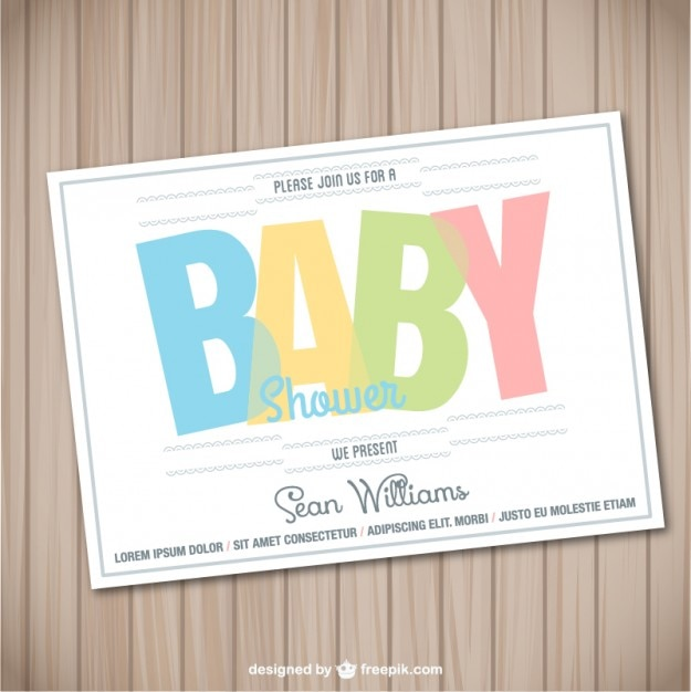 baby shower card wooden template vector free download