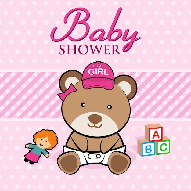 Baby shower card Premium Vector