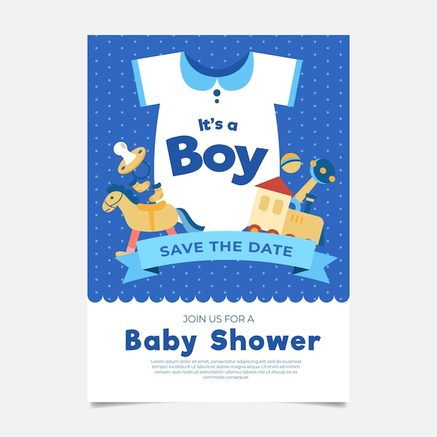 Baby shower celebration invitation template Free Vector
