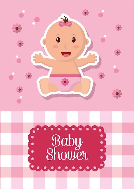 Baby shower celebration labels stripe square background girl smiling flowers Premium Vector