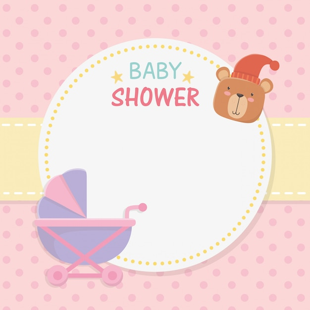 Baby shower circular card with bear teddy in baby cart Free Vector