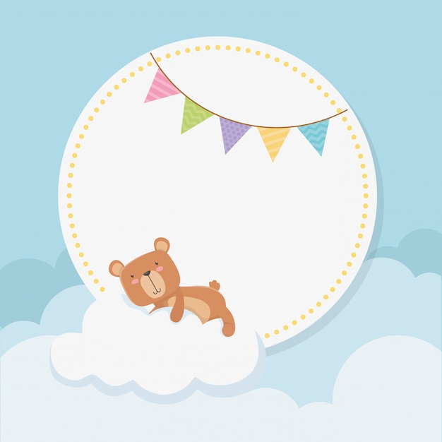 Baby shower circular card with little bear teddy in cloud Free Vector