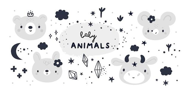 漫画のスタイルでかわいい動物の赤ちゃんとのベビーシャワーコレクション Premiumベクター