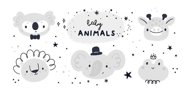 Коллекция детского душа с милыми животными Premium векторы