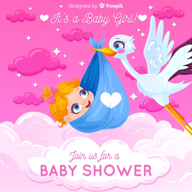 Baby shower concept for girl Free Vector