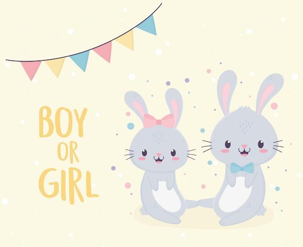 Детский душ милый мальчик или девочка кролики приветствуем новорожденного открытку Premium векторы
