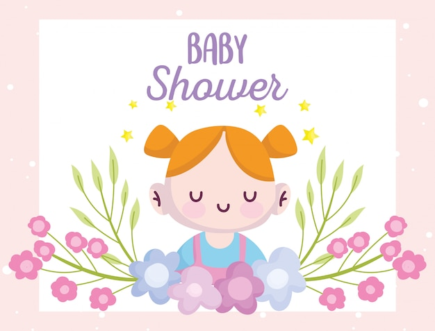 Baby душ, милая маленькая девочка с цветами украшения мультфильма, объявляют новорожденного приветствие Premium векторы