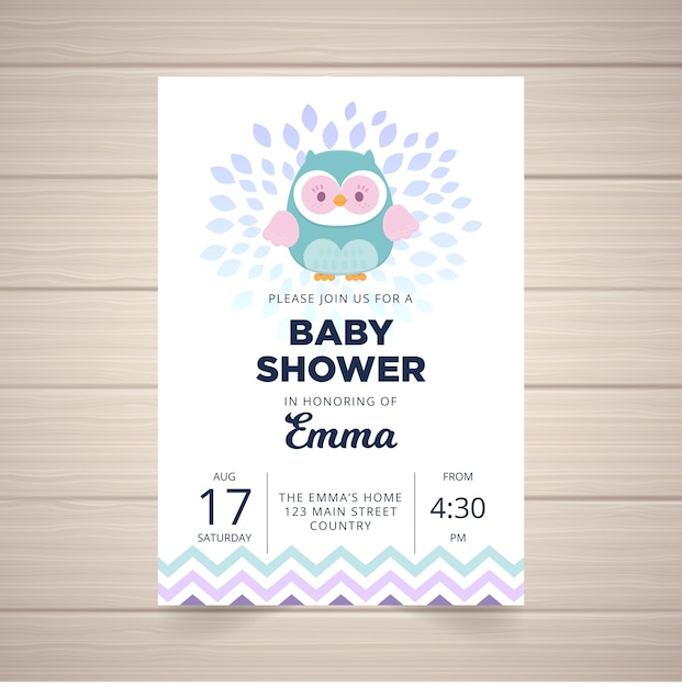Baby Shower Cute Owl Invite Card Vector Premium Download