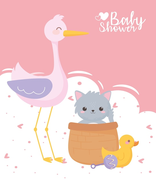 Baby shower, cute stork cat duck and rattle toys, celebration welcome newborn Premium Vector