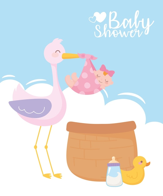 Baby shower, cute stork with little girl basket duck and bottle milk, celebration welcome newborn Premium Vector