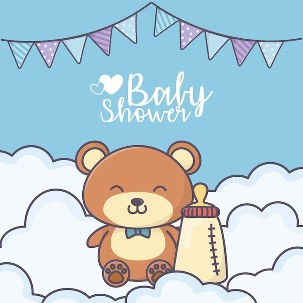Baby shower cute teddy bear with bottle card Premium Vector