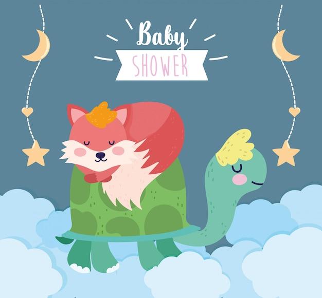 Baby shower cute turtle and sleeping fox clouds cartoon greeting card Premium Vector