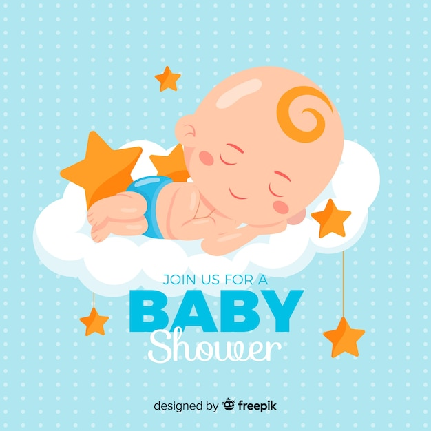Baby shower design for boy Free Vector