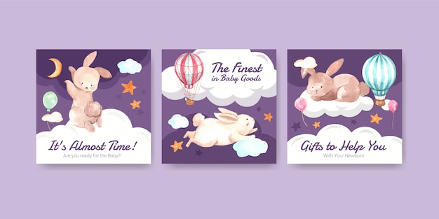 Baby shower design card watercolor  illustration Free Vector