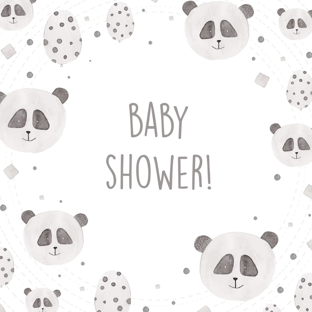 Baby shower design with watercolor pandas