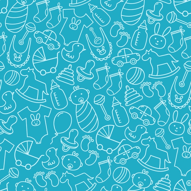 Baby shower doodle seamless pattern. Premium Vector