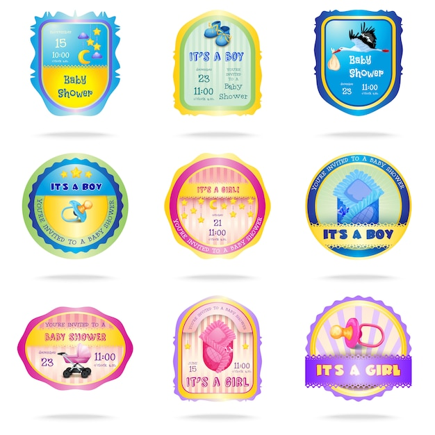 Baby shower emblems Free Vector