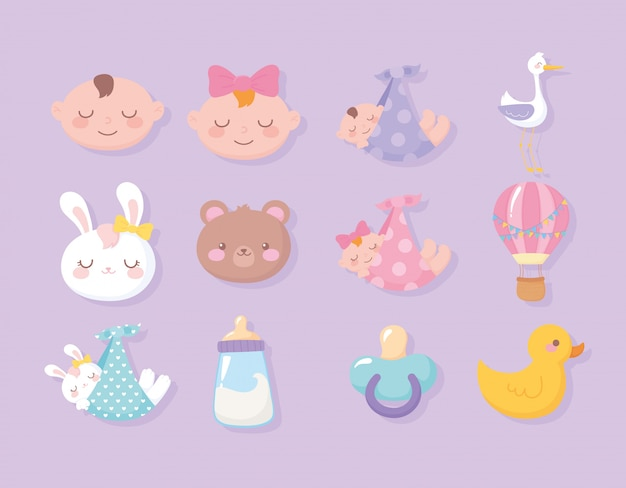 Baby shower, faces boy girl bear bunny duck stork pacifier welcome newborn celebration icons Premium Vector