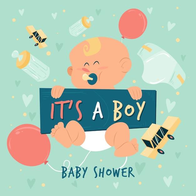 Baby душ для мальчика с ребенком и воздушными шарами Бесплатные векторы
