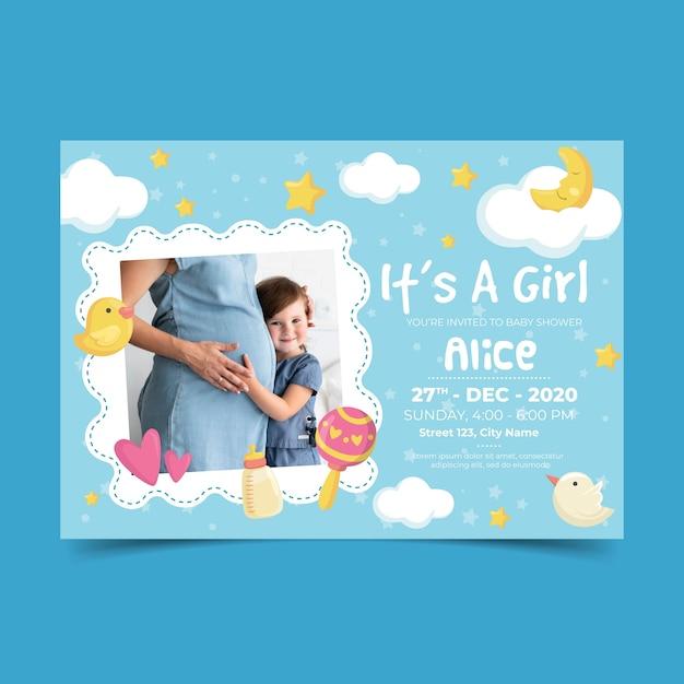 女の子の招待状テンプレートのベビーシャワー 無料ベクター